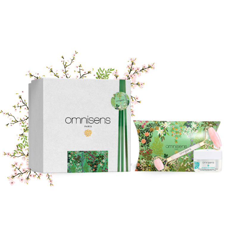 COFFRET RITUEL SPA - ANTI-AGE Crème Riche Multi-Active Jeunesse SECRETS DU TEMPS® + Quartz Rose Roller  - OMNISENS.fr