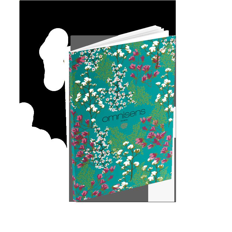 CARNET DE POCHE JARDIN DES SENS - BLEU Un petit indispensable à glisser dans sa poche. Magnifique carnet aux imprimés floraux d'