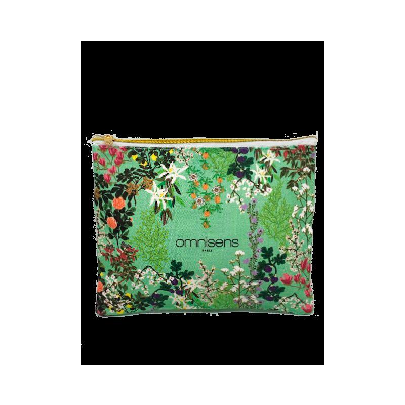 POCHETTE BEAUTE Une pochette à imprimé fleuri Jardin des Sens16.5x 18.5 cm - OMNISENS.fr