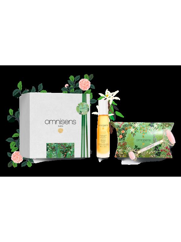 SPA RITUAL GIFT BOX - GLOW Satiny Dry Oil REFLETS DE SOIE® + Quartz Rose Roller  - OMNISENS.fr