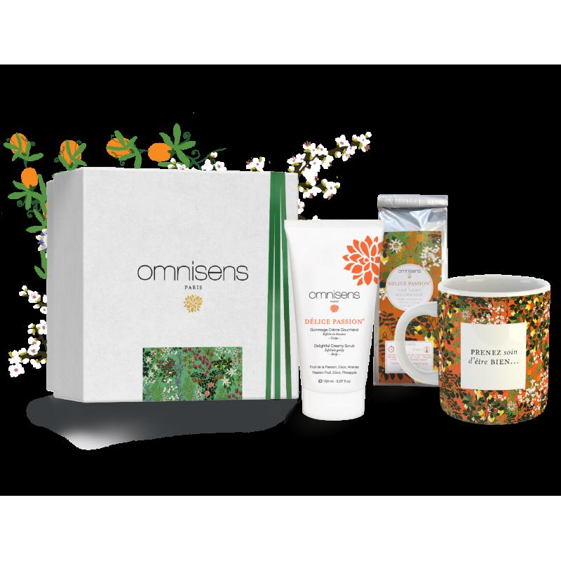 GIFT BOX DÉLICE PASSION® Delightful Creamy Scrub + Tea + Mug collection DÉLICE PASSION® - OMNISENS.fr