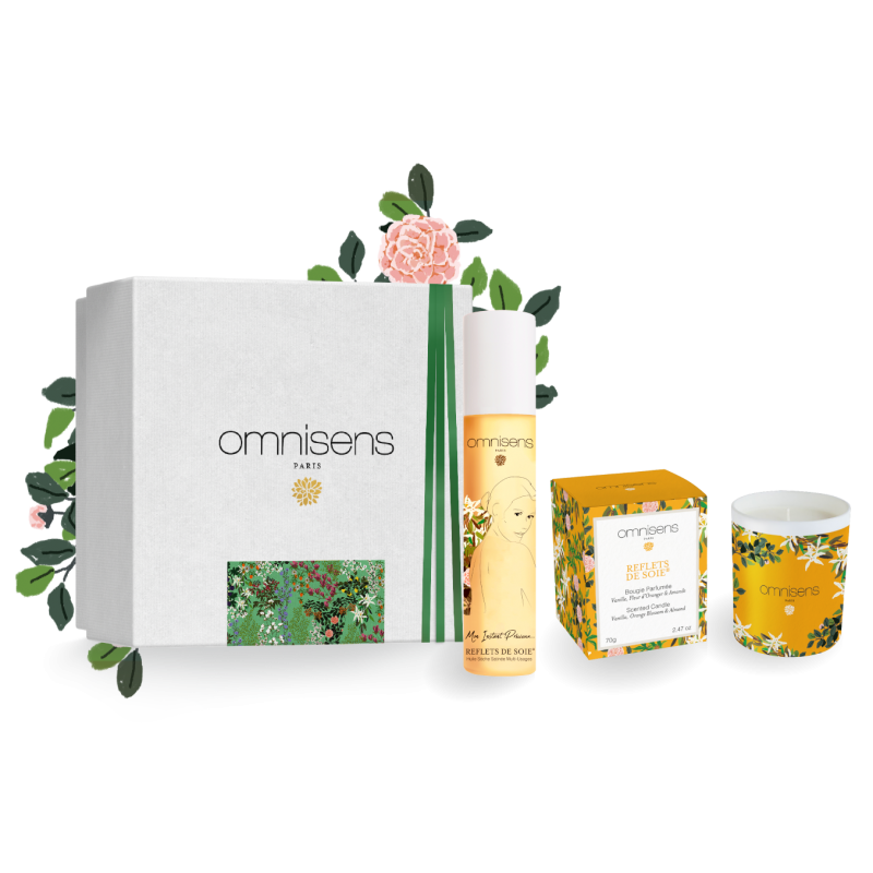PRECIOUS MOMENTS GIFT BOX REFLETS DE SOIE® Scented Candle, + REFLETS DE SOIE® Dry Oil - OMNISENS.fr