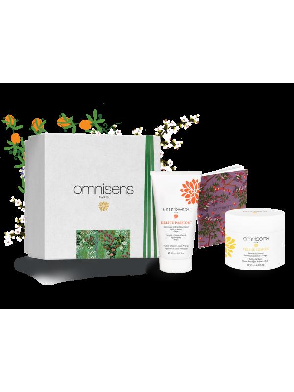GIFT BOX BODY GOURMAND Delightful Creamy Scrub DÉLICE PASSION® + Gourmand Balm DÉLICE LEMON® + Notebook - OMNISENS.fr
